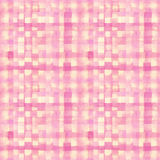 Pink, yellow lines and squares painted watercolor Stock Images