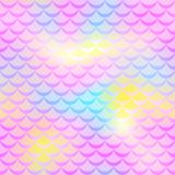 Pink yellow mermaid  background. Fish scale pattern. Mermaid seamless pattern tile. Holographic gradient. Pastel colors iridescent texture. Mermaid skin Stock Photos