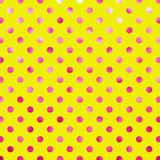 Pink Yellow Metallic Foil Polka Dot Pattern Stock Photography