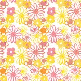 Pink, yellow and orange floral seamless pattern. Bohemian vintage pattern in 60s and 70s style. Flower power. Colorful floral seamles pattern in 60s - 70s stock illustration