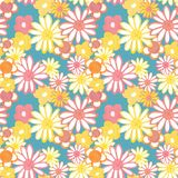 Pink, yellow and orange floral seamless pattern. Trendy bohemian vintage pattern in 60s and 70s style. Flower power. Colorful floral seamles pattern in Trendy stock illustration