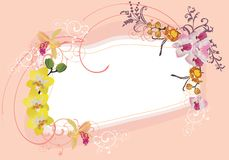 Pink and yellow orchid frame Royalty Free Stock Photography