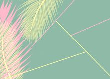 Pink and yellow Palms leafs blue background concept. Pink and yellow Palms leafs on a blue background concept geometry stock illustration