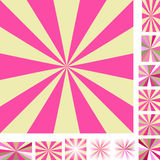 Pink yellow ray burst background set Stock Photos