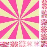 Pink yellow ray burst background set Stock Photos