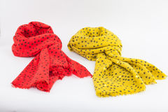 Pink and yellow scarves Royalty Free Stock Photo