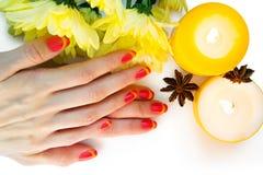 Pink and yellow striped nail art manicure Stock Photo