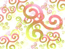 Pink Yellow Swirls Background Stock Photography