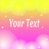 Pink and yellow wallpaper banner with text. And bokeh Stock Photos