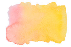 Pink and yellow watercolor blot. Pink and yellow gradient watercolor blot on embossed paper isolated on white background. Abstract watercolor pattern stock image