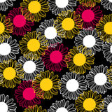 Pink, yellow and white chrysanthemums flowers pattern seamless Royalty Free Stock Image