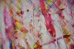 Pink yellow white paint, white wax, watercolor abstract background royalty free stock image