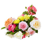 Pink,yellow,white roses bouquet on a white background isolated Stock Photo