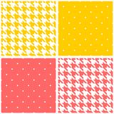 Pink, yellow and white tile vector background set Stock Photo