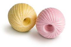 Pink and yellowl cotton yarn Royalty Free Stock Photo