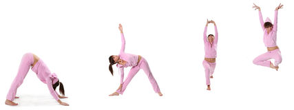 Pink yoga stock image