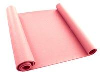 Pink yoga carpet. Twisted pink yoga carpet white background Stock Photos