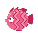 Pink Zigzag Pattern Fantastic Colorful Aquarium Fish, Tropical Reef Aquatic Animal. Fantasy Underwater Marine Fauna Cartoon Sea Water Fish Isolated Vector Royalty Free Stock Image