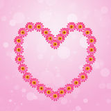 Pink zinnia flower heart on colorful background Stock Photos