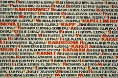 Pinkas synagogi ściany pomnik holokaust ofiary fotografia royalty free