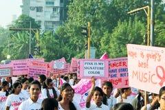 Pinkathonmarathon voor kankervoorlichting India Royalty-vrije Stock Fotografie