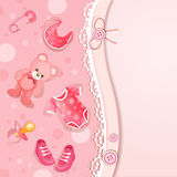 Pinkbaby shower card Stock Images