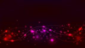 Абстрактные красный цвет и pinkbackground с sparkles и волнами Стоковые Изображения