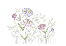 Pinke vildblommor Stock Illustrationer