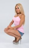 Pinked tank top themed shoot. Stock Photography