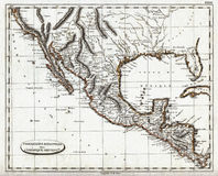 1804 Pinkerton Map of Colonial Mexico and Spanish America. An Antique Map of Spanish America in 1804 prior to US expansion when Texas, California, New Mexico Stock Photos