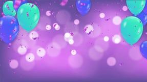 Pinkfarbene metallische baloons auf oben mit klarem Wegisolat stock abbildung