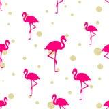 Pinkflamingo- und -goldfunkeln Stockbilder