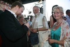 Pinkhasovich ruso de Boris del cantante de la ópera, barítono, estrella del teatro de Mikhailovsky, Rusia, autógrafos de firma a  Foto de archivo