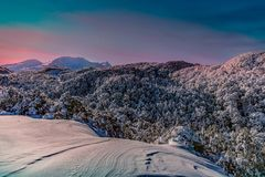 Pinkhemel in MT Ruapehu Royalty-vrije Stock Foto