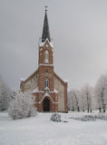 Pinki教会在冬天 库存照片