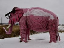 Pinkie the Nearsighted Elephant. This is a Winter picture of Pinkie the Nearsighted Elephant standing in snow at a roadside stop in DeForest, Wisconsin in Dane Stock Photos