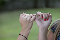 Pinkie Promise linked fingers. Two young girls with hands locked in Pinkie Promise link with natural green background outdoors Royalty Free Stock Image