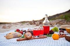 Pinkin na plaży przy zmierzchem w szkockiej kracie, jedzeniu i napoju białych, obrazy royalty free