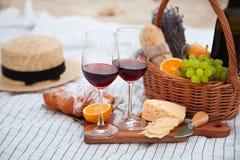 Pinkin na plaży przy zmierzchem w szkockiej kracie, jedzeniu i napoju białych, fotografia royalty free