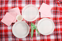 Pinkin. talerz na tablecloth Fotografia Stock