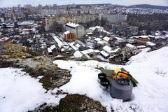 Pinkin z miasto widokiem zdjęcie royalty free