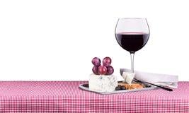 Pinkin z winem i jedzeniem Zdjęcie Royalty Free