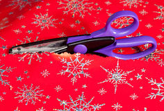 Pinking shears or scissors cutting Royalty Free Stock Photo