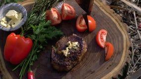 Pinkinu przyjęcie, apetyczny soczysty stek smażył na grillu z zieleniami i warzywach na drewnianym fiszorku w górę campsite przy zdjęcie wideo