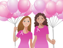 Pinkribbon concept - woman holding pink balloons Royalty Free Stock Photography
