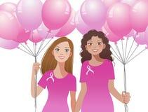 Pinkribbon concept - woman holding pink balloons stock illustration