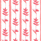 PinkTropic bloeit Naadloos Patroon Stock Foto's