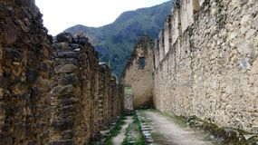 Pinkuylluna考古学废墟在秘鲁 免版税库存图片