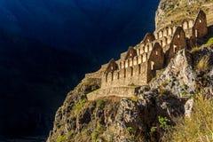 Pinkuylluna, ruins of ancient Inca storehouses located on mounta Royalty Free Stock Image