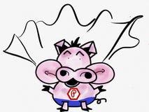 Pinkvarken die in Super Varken spreken Stock Foto's